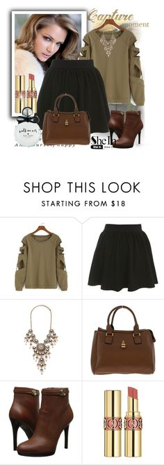"""SHEIN:Sleeve Holloow Green T-shirt"" by suadapolyvore ❤ liked on Polyvore featuring Miss Selfridge, Forever 21, Armani Jeans, Yves Saint Laurent and Kate Spade"