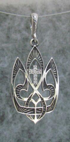 Ukrainian Trident Tryzub Pendant with Cross Oxidized St Silver 925 and CZ Stones | eBay
