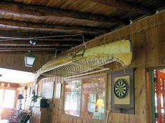 Birch Bark Canoe Hanging in Game Room at Bearfort Lodge