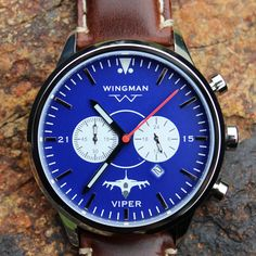 """Our F-16 Viper has a slightly brighter dial than our top selling """"Patriot"""" and has an equally popular demand.  It is one of our best sellers of the airframe specific watch line and we currently only have one left from our original build. This color scheme, with the polished stainless steel case, pairs well with all of the bands that we offer. Grab this last one while it is still available and add a compliment of bands to give it a different look.  #wingmanwatches #customwatch #f16 #viper…"""