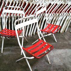 Tolix folding chairs, 47 available #cafe #restaurants #commercial #outdoor #midcenturyoutdoor #tolix #france #xavierpouchard #industrial #vintage #angelucci20thcentury