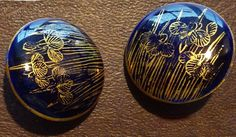 Vintage Satsuma Iris Buttons in Dark Blue and Gold