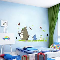Kids bedroom cute totoro sticker removable 3d cartoon nursery wall decal adhesive baby room wall pictures-in Wall Stickers from Home & Garden on Aliexpress.com | Alibaba Group