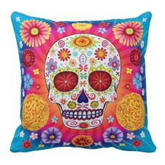 Sugar Skull Pillow - the colours!