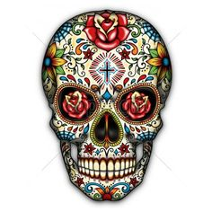 Sugar Skull Cushions Linen Cushion Cover Day of Dead Throw Pillow Case Decorative Pillowcase For Living Room Bed Room Mexican Skull Tattoos, Mexican Skulls, Candy Skulls, Sugar Skulls, Body Art Tattoos, Sleeve Tattoos, La Muerte Tattoo, Tattoo Crane, Sugar Skull Artwork