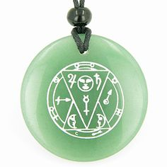 Sun Talisman from the Sage of the Pyramids Green Quartz Pendant Necklace