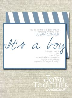 It's a Boy Baby Shower Invitation - DIY Printable. $20.00, via Etsy.