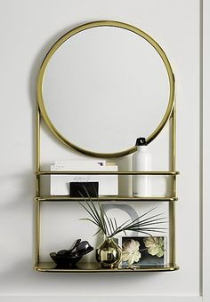 Warm Brass Mirror Reflects The Charm Of A Flea Market Find. Built For  Beauty And Utility, Top Shelf Has A Bar For Storing Accessories, Toiletries  Etc. We ...