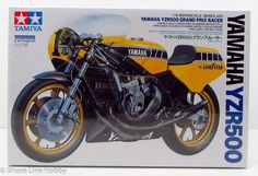 This is the Scale Yamaha Grand Prix Racer Plastic Model Motorcycle Kit by Tamiya. Plastic Model Kits, Plastic Models, Motorcycle Model Kits, Engine Stand, Airfix Models, Tamiya Models, Model Building Kits, Yamaha Yzf, Box Art