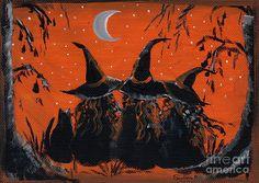 Tres joves bruixes. Pintura.