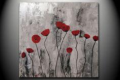 Red Floral Poppies flowers Field Modern 20x20 ORIGINAL by OritArt, $129.00