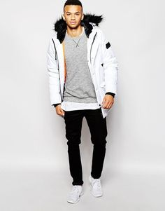 Pull&Bear Men s Black Parka Jacket with Hood in Size M Chest 38 ...
