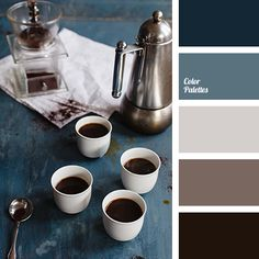black and blue colors, black and brown colors, blue-gray shades, brown and black colors, brown shades, contrast combination of warm and cold tones, granite color, gray color, gray-blue shades, gray-brown shades, orange and brown shades, palettes for designers.