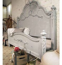 Painted Cottage Shabby Grey King Romance Bed by paintedcottages - Bed Headboard - Ideas of Bed Headboard - Painted Cottage Shabby Grey King Romance Bed by paintedcottages Sleigh Bed Painted, Painted Beds, Painted Bedroom Furniture, French Furniture, Shabby Chic Furniture, Painted Headboard, Grey Headboard, Headboard Ideas, Home Bedroom