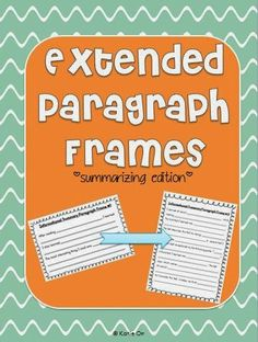 Mind Sparks: Paragraph Frames--Extended Version! (and a freebie)
