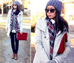 Preppy look. Skinny jeans, boots, button down collar shirt, sweater on top. Finish the look with a fitted coat and scarf.