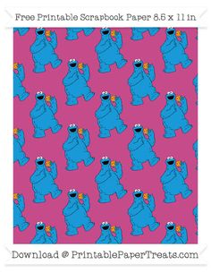 Free Mulberry Purple Large Cookie Monster Pattern Paper - Sesame Street