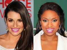 BUBBLE-GUM-PINK POUT  Lea Michele wears an opaque fuchsia take on this winter's hot lip color for maximum impact, while Jennifer Hudson rocks a sheerer version of the same ultra-girly shade.