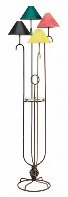 JEAN ROYERE 'Jets d'Eau' A Painted Metal and Glass Four-Light Floor Lamp, circa 1950 with original shades 70 in.) h… – Flooring Designs Arc Floor Lamps, Modern Floor Lamps, Mid Century House, Mid Century Style, Glass Floor, Mid Century Lighting, Floor Design, Metallic Paint, Paris
