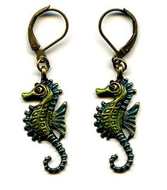 Enameled Antiqued Bronze Seahorse Leverback Earrings Artisan Handmade Green and Blue Moon Pixie