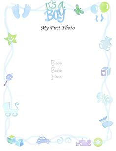 """Free Printable Baby Book Page, """"Boy's First Photo"""""""