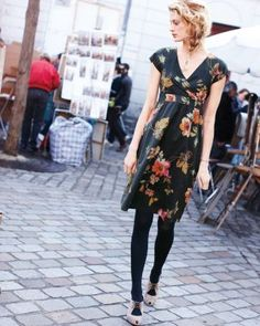 Perfect fall dress. I want a dark background with jewel tone flowers. Perfect with long sweater, tights and cowboy boots! Marisol Voile Dress