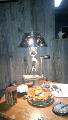 Meat grinder lamp. All recycled.