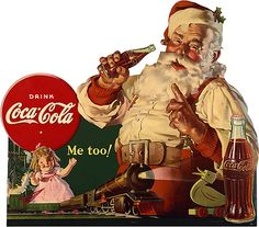 Most people can agree on what Santa Claus looks like -- jolly, with a red suit and a white beard. But he did not always look that way, and Coca-Cola® advertising actually helped shape this modern-day image of Santa. Coca Cola Christmas, Noel Christmas, Christmas Images, Vintage Christmas, Christmas Posters, Father Christmas, Christmas Countdown, Coca Cola Poster, Coca Cola Ad
