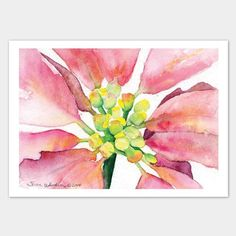 """Poinsettia Watercolor Christmas card. Beautifully textured watercolor card stock is used in the printing of this original watercolor painting. These 5""""x7"""" cards come with coordinating envelopes. The i"""