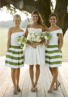 Love these bridesmaid dresses just with the strips in turquoise or coral!   I have to decide!