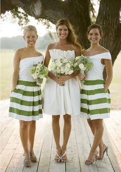 Green & White striped bridesmaids #rockmyspringwedding @Rock My Wedding