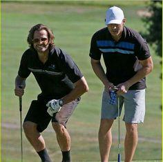 Jared and Jensen playing golf.