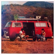The parents chilling outside the VW in Namibia sometime in the 80s