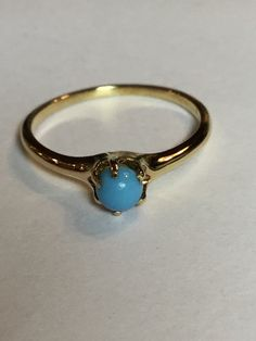 Vintage Victorian 4mm Turquoise Ring in by NannysHiddenTreasure