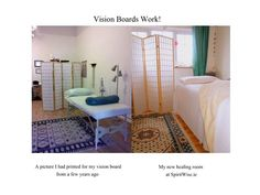 On the left hand side is a picture I printed off a few years ago and put on my vision board; on the right is my new healing room! Massage Business, Business Goals, Healing, Printed, Chakras, Storage, Reiki, Board, Room
