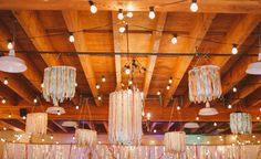 Ribbon chandeliers from a colourful music inspired wedding #wedding #weddings #event #events #vintage #DIY #colourful #colorful #music #chandelier #ribbon