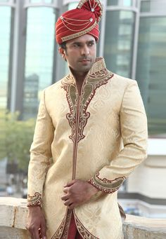 Buy Golden Brocade Readymade Dhoti Sherwani 204335 online at lowest price from our mens wear collection at Indianclothstore.com. Sherwani Groom, Mens Sherwani, Wedding Sherwani, Punjabi Wedding, Indian Man, Indian Groom, Indian Ethnic, Indian Men Fashion, Mens Fashion