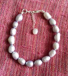 Lilac Cultured Freshwater Baroque Pearl Bracelet with 925 Sterling Silver clasp and extender