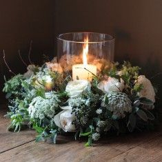 The Real Flower Company Scented Ivory Snowflake Table Wreath