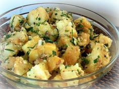 Barefoot Contessa: French Potato Salad! Delicious and perfect for a casual Easter lunch! No mayo! Dressed with fresh herbs, Champagne vinegar, chicken stock, Dijon mustared and white wine!