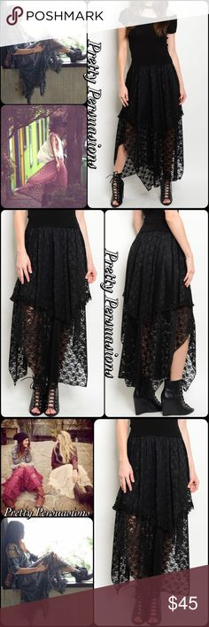 """NWT Black Lace Double Tiered Courtship Maxi Skirt NWT Black Lace Double Tiered Courtship Maxi Skirt  Available in S, M, L Measurements taken from a small  Length: 42"""" Waist: 24"""" (unstretched)  Nylon/Spandex  * Also available in Burgundy-Wine in a separate listing *  Features  • elasticized waistline - accommodating fit • two tiered layered lace • black floral lace • flowy skirt • partially lined   Bundle discounts available  No pp or trades  Item # 1/1011220450BLMS black floral lace maxi…"""