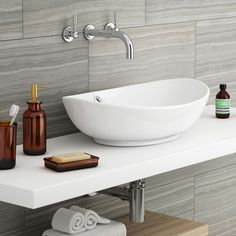 Costa Counter Top Basin - Oval - Close up image of a modern counter top basin in a contemporary bathroom with grey wall tiles Modern Bathroom Sink, Bathroom Basin, Bathroom Wall, Bathroom Ideas, Bathrooms, Counter Top Sink Bathroom, Counter Tops, Bathroom Designs, Bathroom Inspiration
