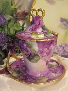 antique Limoges covered cup & saucer, hptd violets ~ oldbeginningsantiques on Ruby Lane