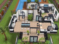 House 77 ground level #sims #simsfreeplay #simshousedesign Sims haus Haus blaupausen Minecraft häuser modern