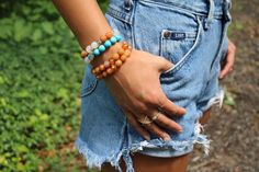 Beaded Fire agate/ Aventurine bracelets with hamsa by OliviaBeryl