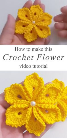 Simple Crochet Flower - These simple crochet flowers are creative and decorative for so many crochet projects. These flowers make the perfect embellishment for accessories! crochet crafts Simple Crochet Flower With 6 Petals Beau Crochet, Love Crochet, Beautiful Crochet, Crochet Roses, Crochet Leaves, Crochet Stars, Knit Flowers, Crochet Birds, Crochet Animals