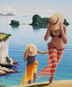 Tony Ogle Beach Paintings, New Zealand Art, Nz Art, Coastal Art, Pretty Photos, Naive Art, Mixed Media Artists, Caravans, Summer Art