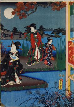 Sheet from a colour woodblock triptych print entitled Setsugekka no uchi: Tsuki (Snow, Moon and Flowers: Moon), depicting Prince Genji and ladies in a moonlit garden with a verandah: Japan, by Utagawa Kunisada, 1849 - 1852 Space Gallery, Earth From Space, Stonehenge, Triptych, National Museum, Stargazing, Japanese Art, Constellations, Fairy Tales