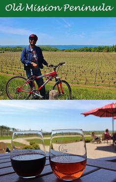 Biking and wine tasting on Old Mission Peninsula. Upper Peninsula, Michigan.