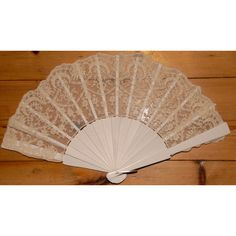 Vintage Style lace and wood Ivory/White hand fan. by Babymae1 (£9.99) via Polyvore